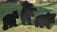 3 Bear Cubs Yard Art, Bear Cubs Yard Silhouettes, Bear Shadow Art, Yard Stakes