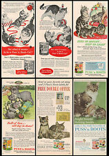 Original Magazine Print Ads From The 50s And 60s Lot Of 6 Puss 'n Boots Cat Food