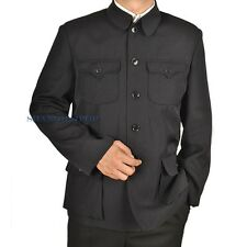 Men Single Breasted Jacket Mao Chinese Tunic Blazer Zhongshan Black Vintage New