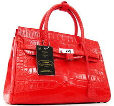 100% BELLY SKIN GENUINE CROCODILE LEATHER HANDBAG BAG TOTE SHINY RED & SOFT NEW