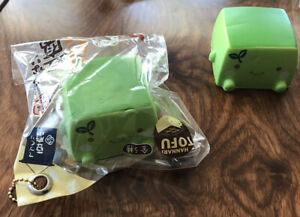 Green Tea Hannari Tofu Squishy Brand New Squeeze Stress Reliever With Ball-Chain