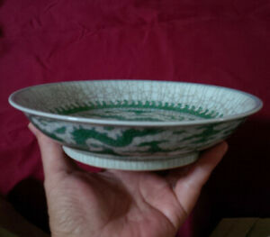 Chinese Green and White Dragon Crackled Dish w/ Mark