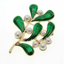 Gold tone green enamel leaf and pearl brooch / pin