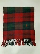Polo Ralph Lauren Vintage Pony Plain Red/Green 100% lambswool winter scarf