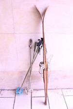 antike Kinderski Abfahrtsski Holzski 146 cm + Bindung Клинская Лыжная Ski Skier