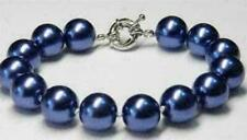 Charming! 10mm Blue South Sea Shell Pearl Round Beads Bracelet 7.5''