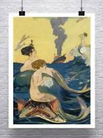 Mermaids At Sea 1880 Vintage Illustration Giclee Print on Canvas or Paper