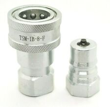 New 12 Npt Iso 7241 B Quick Disconnect Poppet Valve Hydraulic Coupling Set