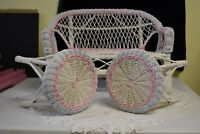 """DOLL FURNITURE, WICKER BENCH AND TABLES, VINTAGE 17""""w X 11-1/2 TALL"""
