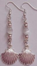 Sea shell dangle earrings silver plated handmade holiday beach clam