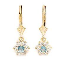 Women/Childrens 14K Gold Aquamarine Birthstone Flower Dangle Leverback Earrings