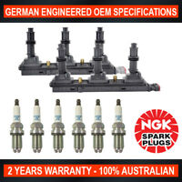 6x Genuine NGK Platinum Spark Plugs & 2x Ignition Coil for Holden Vectra JS II