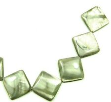 8 Gray Silver Mother of Pearl Diamond Beads 25mm P341