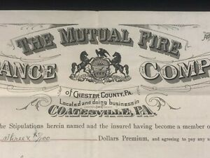 Coatsville PA Israel Morris Radnor PA - Fire Insurance Company Document