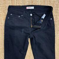 Levis 10529 Women's Stretchy Bootcut Jeans Size W29 L34 Dark Black Denim