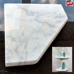 "8"" Marble Shower Corner Shelf (Bianco Ibiza XD) Stone Bathroom Caddy Soap Dish"