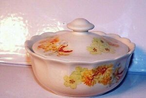 Vintage Sadler Lidded Trinket Pot from the Original Collection Yellow Flowers