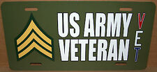 Sergeant E-5 US Army Veteran - OD Green Aluminum License Plate Made in USA