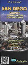 Street Map of San Diego County, California, Freeways & Major Streets, by Global