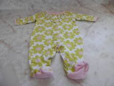Baby Girl 3 Months Carter's Green White Daisy Ballet Footed Snap Ruffle Sleeper