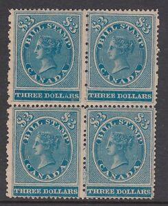 CANADA 1864 MINT H/NH #FB17 7c VICTORIA BILL STAMP REVENUE BLOCK OF 4 CAT $490