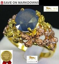 NATURAL 4.25 ct BLUE SAPPHIRE GOLD ON SILVER RING