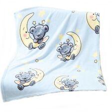 Bär mit Mond Baby Kuschel-decke, Wolldecke  Krabbel-decke Schmusedecke 75x100cm