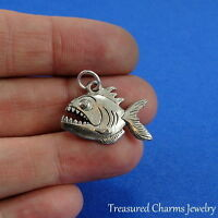Silver PIRANHA Flesh Eating FISH CHARM PENDANT *NEW*