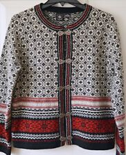 SKYR Womens M Wool Cardigan Nordic Fair Isle Sweater Clasp Red White Black