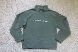 Vintage Benetton Men's XL Pullover Sweater Fleece Green Turtleneck Made in USA