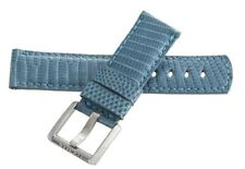 LOCMAN Men's 21MM x 20mm Light Blue Lizard Leather Silver Buckle Watch Band