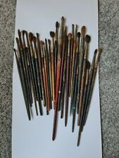 Lot Of Vintage Artist Paint Brushes Oil Watercolour Old And Used 28 various