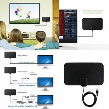 Indoor Amplified TV Antenna Flat HD Digital HDTV 50 Miles TVFox VHF UHF DVB UK