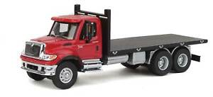 Walthers HO Scale International 7600 3-Axle Flatbed Truck Red Cab/Black Bed