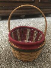 Longaberger Christmas Holiday Basket Set Round Basket, Liner, Proector