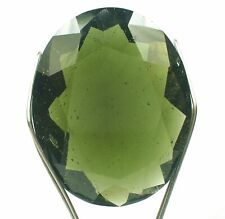 18.2 Ct MOLDAVITE TEKTITE Facet Oval *AAA Grade* PHENOMENAL COLOR and INCLUSIONS