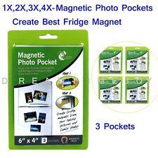 "1-4 - 6 x 4"" Magnetic Photo Pocket Holders For Fridge Freezer 3 Pockets"