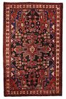 Vintage Persìan Hamadan 4'x7' Black Wool Tribal Hand-Knotted Oriental Rug