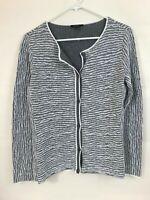 Lafayette 148 New York Women's Cardigan Sweater Size Medium Gray White Cotton Bl