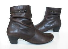 Ladies RIEKER Anti-Stress Brown Leather Ankle Mid Heel Boots Size UK 5 Exc Cond