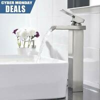 Waterfall Single Handle Bathroom Vessel Sink Faucet Brushed Nickel Countertop