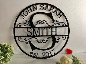 Personalized Family Last Name Est. Metal Sign Initial Split Letter Couple Names