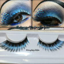 1Pair Shimmer Blue False Fake Feather Eyelashes Extension Makeup Peacock Style