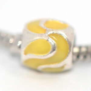 1PC Yellow Bead Charm Silver Fit Eupropean Chain Bracelet Making Jewelry DIY