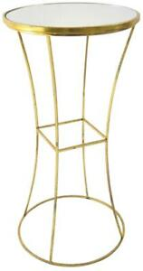 SIDE TABLE SQUARE GOLD LEAF METAL MIRROR TOP BRONZE BRASS