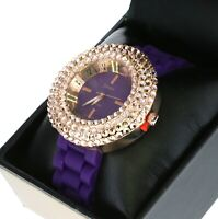 Cute Ladies 4 Rows Iced Out Crystal Bezel Quartz Watch W Purple Silicone Band