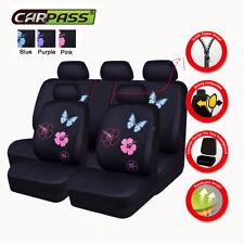 Universal Car Seat Covers Rear Split Airbag Pink Butterfly Breathable for Sedan