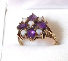 Amethyst Opal Flower Cluster Ring 7.25 British Vintage 9ct Yellow Gold Victorian