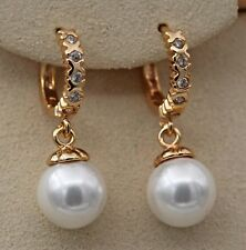 18K Gold Filled- Chic Pearl Swirl Round Topaz Zircon Women Earrings Jewelry Gift