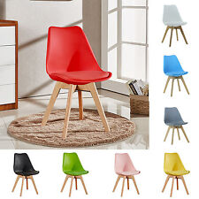Tulip Dining Chair Eiffel Inspired Solid Wood Legs Padded Seat Comfortable UK